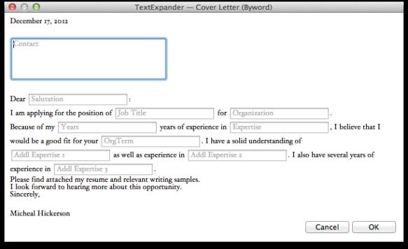 TextExpander Window